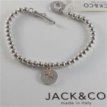 SILVER 925 BRACELET JACK&CO WITH BEADS SHINY AND PENDANT GOLD PINK 9 CARATS image 6