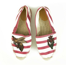 Gucci Striped Canvas Bee & Flower Pink White Flat Shoes Espadrilles size 38 - $484.11