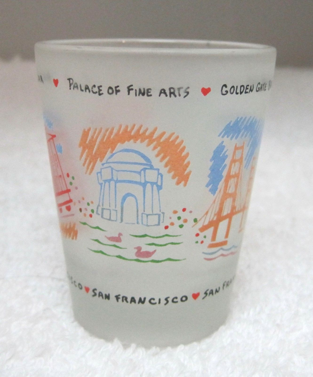 Primary image for Bright Colorful San Franciso Tour Sites  Souvenir Shot Glass Great Shape