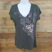 Express V-Neck T-Shirt Women's Size L Gray Pink DO23 - $8.90
