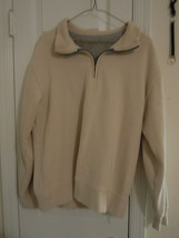 Van Heusen Sport Men's Size M Ivory Pullover Shirt Zipper Neck Cotton & ... - $7.92