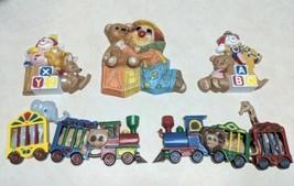 5 VINTAGE Kids Nursery CIRCUS TRAIN WALL PLAQUES CLOWNS TEDDY BEARS ABC ... - $10.39