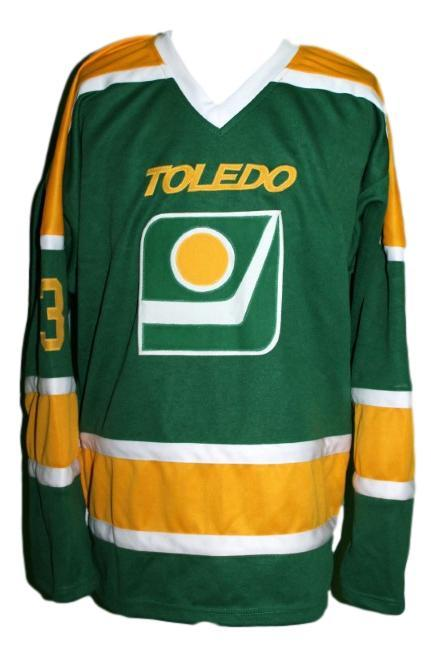 Custom name   toledo goaldiggers retro hockey jersey green   1