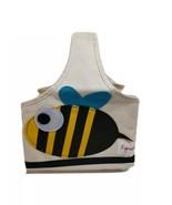 3 Sprouts Beige Storage Caddy Canvas Storage Bag Tote W Bee Applique 3 P... - $12.86