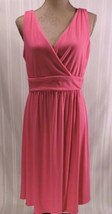 NWOT Old Navy Maternity MEDIUM dress PINK sundress knit knee length V-ne... - €12,06 EUR