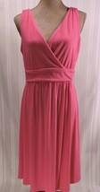 NWOT Old Navy Maternity MEDIUM dress PINK sundress knit knee length V-ne... - $13.54