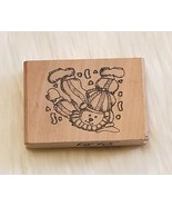 Teddy Bear Clown Acrobat Rubber Stamp Wood Mounted - $3.67