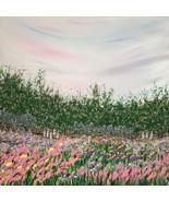 Springtime 12 x 12 Acrylic Painting, Colorful Sky, Trees and Wildflowers... - $145.00