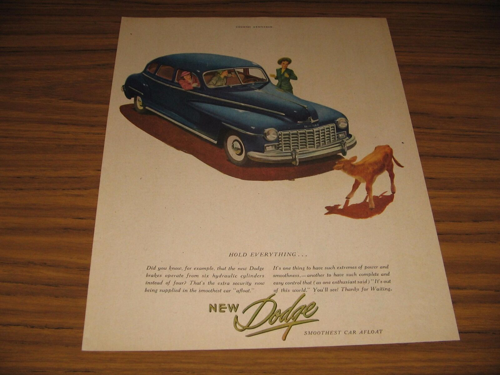 Primary image for 1947 Print Ad The New Dodge Smoothest Car Afloat Calf in Road