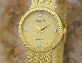 Elgin Svizzero Fatto Donna Placcato Oro Lussuoso 22mm Quarzo Abito Watch DSI11 - $459.59