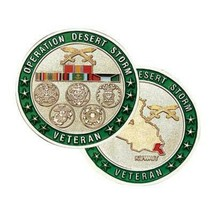 "OPERATION DESERT STORM VETERAN  MILITARY MEDAL RIBBON 1.75"" CHALLENGE COIN  - $17.14"