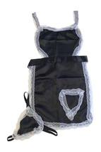 Femmes Noir Blanc Soubrette Ensemble Lingerie Taille Unique 8-12 UK - $10.36