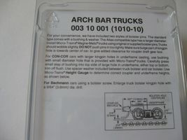Micro-Trains Stock #00310001  (1010-10) Arch Bar Trucks Short Extended Couplers image 3