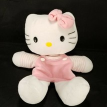 "Sanrio Hello Kitty Hand Puppet Plush 10"" Pink Striped Outfit Stuffed Ani... - $13.85"