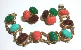 VINTAGE SIGNED CELEBRITY CLIP ON EARRINGS SCARAB BEETLE & UNSIGNED BRACELET - $95.00