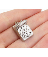 925 Sterling Silver - Vintage Old Fashioned Telephone Motif Pendant - P1... - $24.23