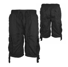 Men's Elastic Waist Drawstring Multi Pocket Cotton Cargo Shorts w/ Defect - L