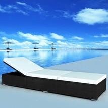 Outdoor Black Waterproof PE Rattan Sunlounger White Cushion Adjustable L... - $255.63