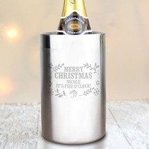 PERSONALISED Christmas Frost Wine Cooler : Stainless Steal : Add Message... - $36.83