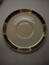 LENOX Medowbrook Pattern SAUCERS 3 for MARSHALL FIELDS Blue GOLD Floral ... - $29.69