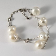 Bracelet in Sterling Silver 925 two wires with white pearls freshwater and balls image 2