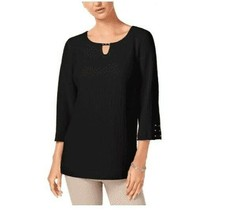 JM Collection Size Medium Blouse Womens Textured Keyhole Tunic Black Top... - $16.82