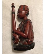 WOODEN AFRICAN MUSICIAN STATUE  Playing African Lute  Please see PICs!  ... - $34.95
