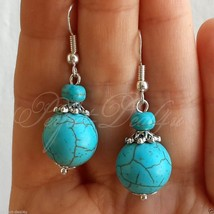 Big Blue Turquoise Beautiful Dangle Earrings 925 Sterling Silver Hook  - $7.61