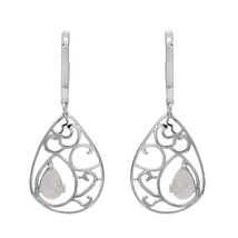 Filigree Cut 925 Sterling Silver Rainbow Moonstone Dangle Lever Back Ear... - $23.24