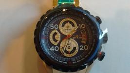 Invicta 48MM Chron Quartz SS Gold + Blue #28148 - $99.99