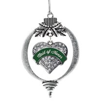 Inspired Silver Forest Green Maid of Honor Pave Heart Holiday Decoration Christm - $14.69