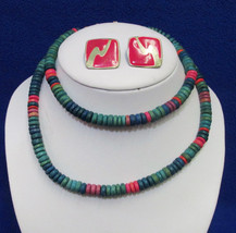 Vintage Wood Wooden Beaded Necklace Teal Blue Pink Green & Earrings Jewelry - €6,70 EUR