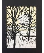 "Woodblock Print: Riverside Variation 7 (Limited Edition) Matted to 8"" x 10"" - $25.00"
