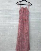 New Joie Size 2 Agua Print Silk Maxi Dress Long Orange Halter Cross Back... - $169.89