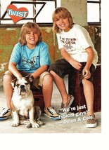 Dylan Sprouse Cole Sprouse teen magazine pinup clipping typical guys with a dog