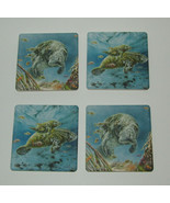 Manatees Coasters New Set of 4 CoasterStone Absorbing Sea Life Under Water - $25.21