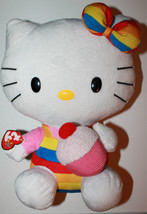 "12"" Hello Kitty TY Beanie Buddy Plush Character Cupcake Rainbow Gay Prid... - $28.11"
