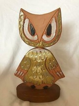 Vintage Owl Figurine Hand Painted Made - $39.59