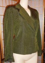 ARMANI COLLEZIONI Green Quilted Tailored Blazer. Hidden Buttons! 8 - $44.55