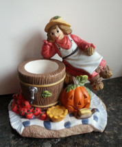 Scarecrow Votive Candle Holder Fall Harvest Apple Thanksgiving Partylite... - $17.57