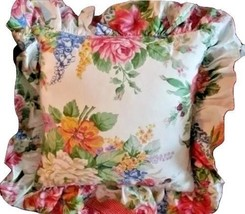 """Ralph Lauren Melissa Floral 16"""" Ruffled Pillow Sham & Down Insert RARE - $1.284,12 MXN"""