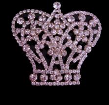"""Queen Brooch - HUGE 2"""" Rhinestone crown - Large Vintage Drag Queen brooc... - $95.00"""