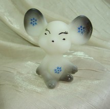 Fenton 3 Inch Opal Satin Mouse Airbrushed/Sand Carved Smoke Grey W/Blue ... - $51.41