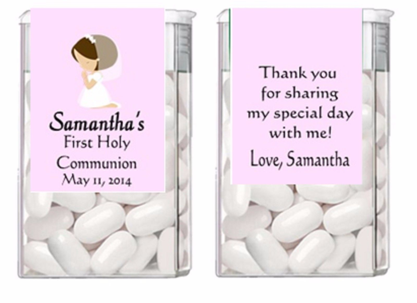 Religious First Communion ANY COLOR Mint Mints Party Favors Labels Personalized