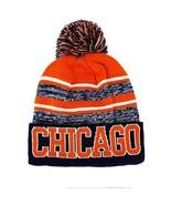 Chicago Men's Blended Stripe Winter Knit Pom Beanie Hat (Midnight Blue/O... - $13.89