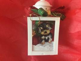 YORKIE PUPPY  HAND PAINTED MINI CHRISTMAS ORNAMENT  LANTERN - $108.90
