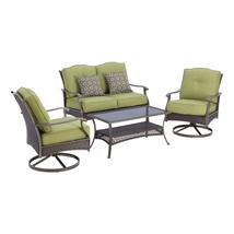 4 Piece Backyard Patio Furniture Set Table Swivel Chairs Love Seat Outdo... - £441.13 GBP