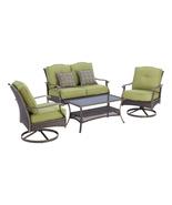 4 Piece Backyard Patio Furniture Set Table Swivel Chairs Love Seat Outdo... - £437.10 GBP