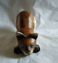 Vintage Hand Carved and Hand Painted Wooden Blue Eyed Cat Statue Figure EUC - $49.45