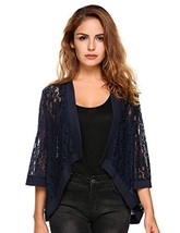 Grabsa Women's 3 4 Sleeve Lace Cardigan Sheer Jacket Crochet Cover up - $30.94